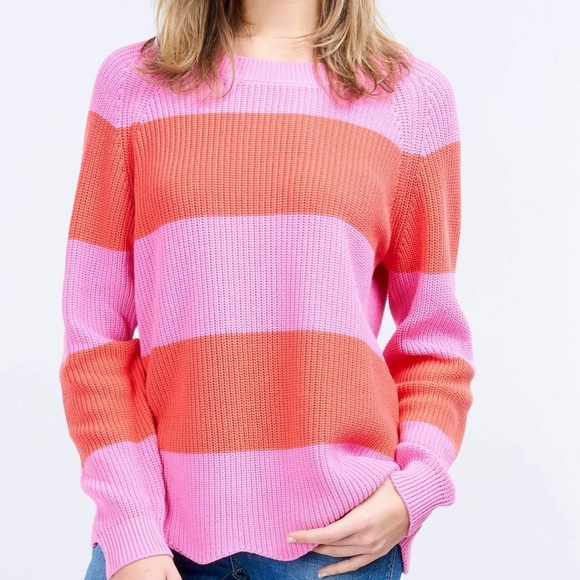 "Repeat Sweaters - ""Repeat"" brand striped sweater with scalloped hem"